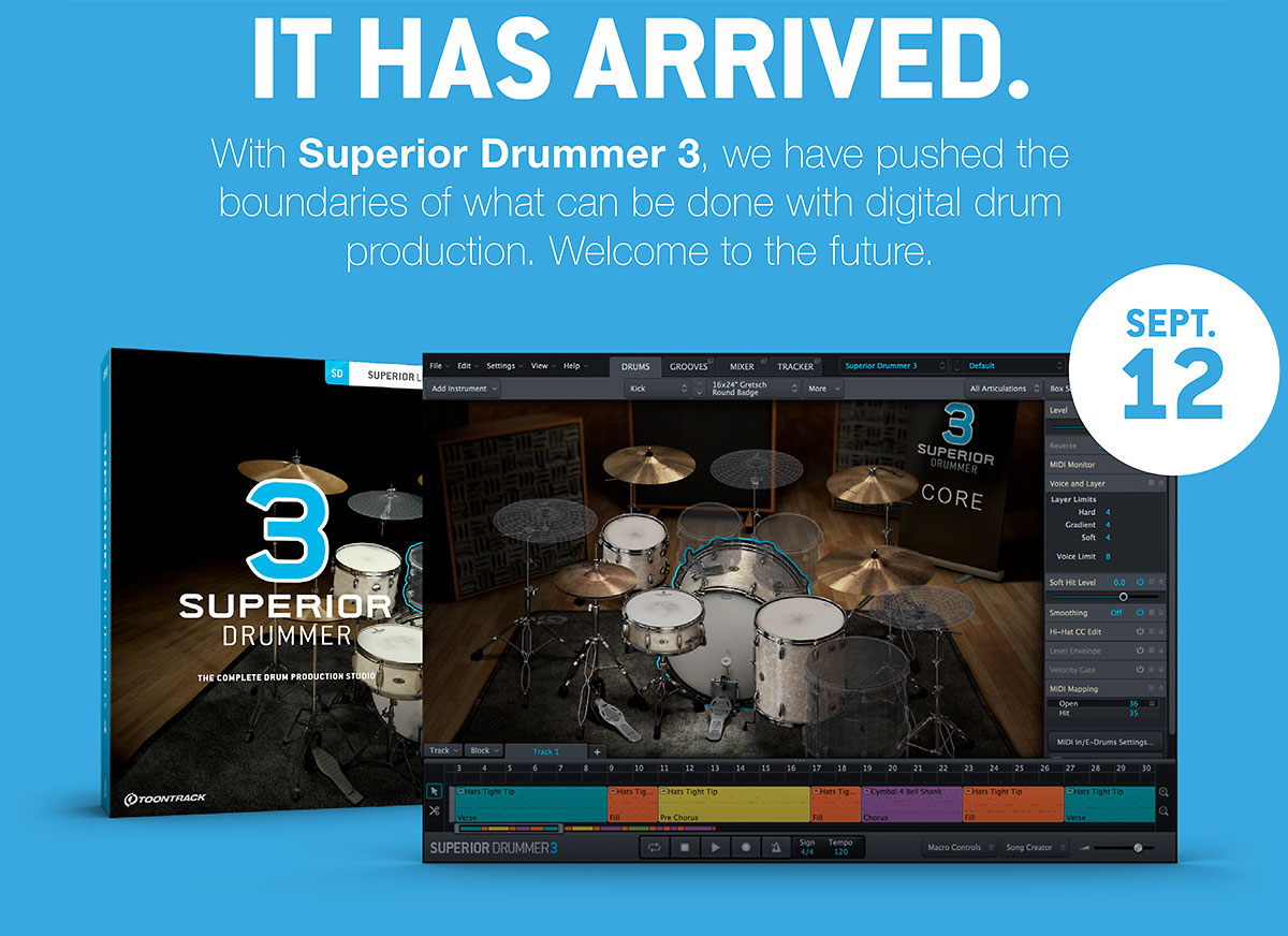 Superior Drummer 3 will be released on September 12, and ...