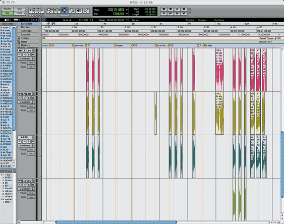 An example of backing vocal track editing. Note that the pauses between phrases have been tightly edited out of all these tracks, to remove distracting ambience.