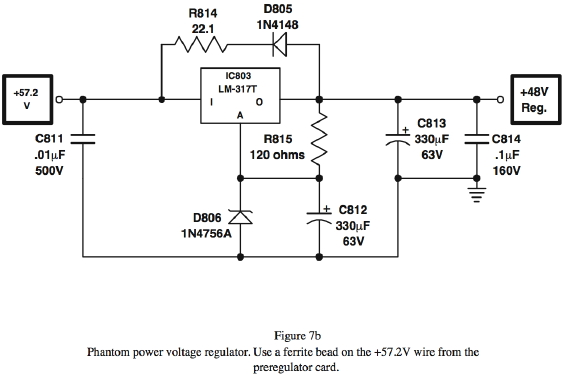 Phantom power voltage regulator. Use a ferrite bead on the +57.2V wire from the preregulator card.