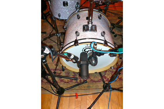 The kick drum mic setup (AKG D112 and Shure SM7B).