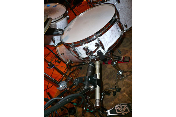 The snare bottom mics (Shure SM57 and Shure SM81).