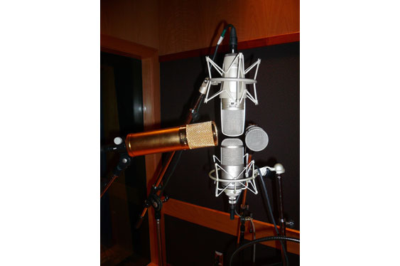 The four mic setup used to make the sample vocal recordings.