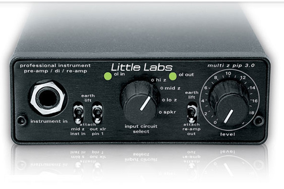 Re-amping is best accomplished using a specialized box. The Little Labs Multi-Z can be used as a DI and a reamplifier, but it also adds a variable level and selectable impedance.