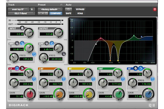 An overall picture of the snare eq. This includes a bass roll-off to reduce low frequency noises and bleed from the kick, but does not include the eq for the 606 Hz ringing tone.