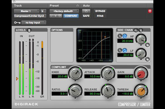 Screenshot of ProTools Digirack compressor/limiter with soft knee.