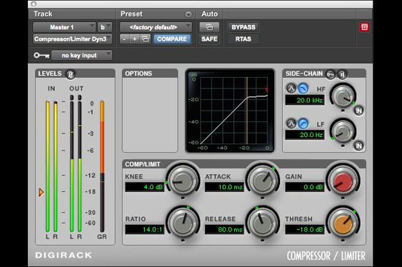 Screenshot of ProTools Digirack compressor/limiter with a 14:1 ratio. This acts as a limiter.