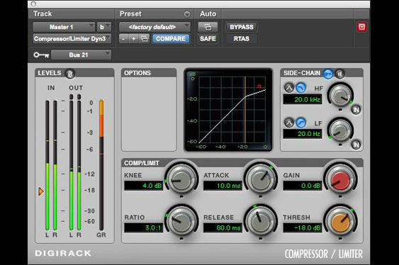 Screenshot of ProTools Digirack compressor/limiter using the sidechain (from bus 21) to key compression.
