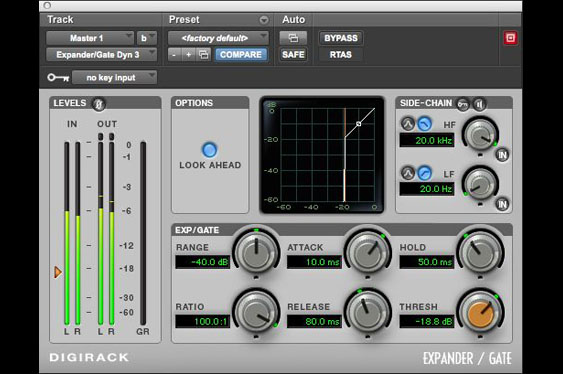 Screenshot of ProTools Digirack expander/gate with ratio of infinity to 1. This acts as a gate.