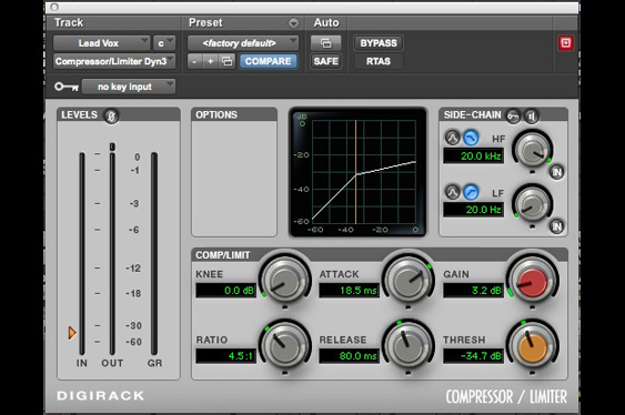 A compressor set to accentuate the attack and closeness of a vocal track.