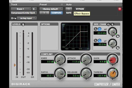 Here a limiter with fast attack and release changes the timbre of the snare through waveshaping.