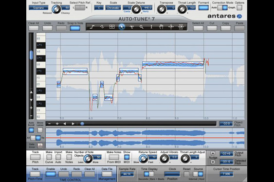 The graphical mode window in Antares Auto-Tune 7.