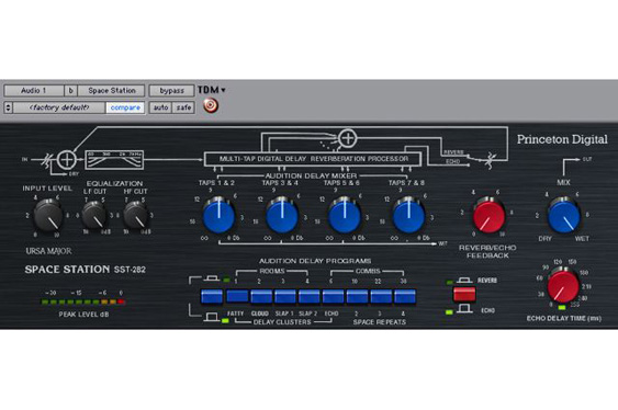 The Eventide Space Station SST-282 plug-in is an emulation of the classic multi-tap delay by Ursa Major.