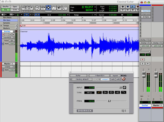 A high-pass filter engaged on the recorded track...