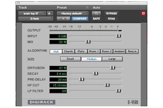 The hall reverb used on the snare track in TCRM20_20.wav. Note the 20ms predelay.