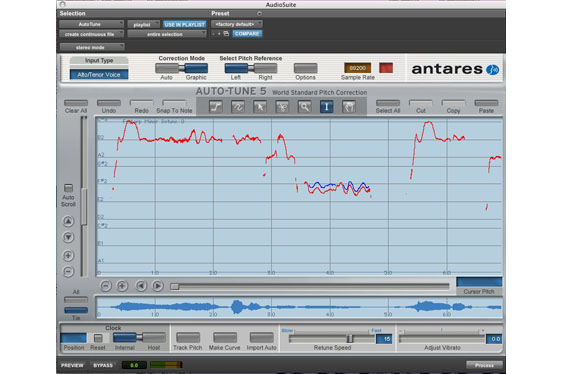 AutoTune curve window set to adjust the vocal line for TCRM20_32.wav.