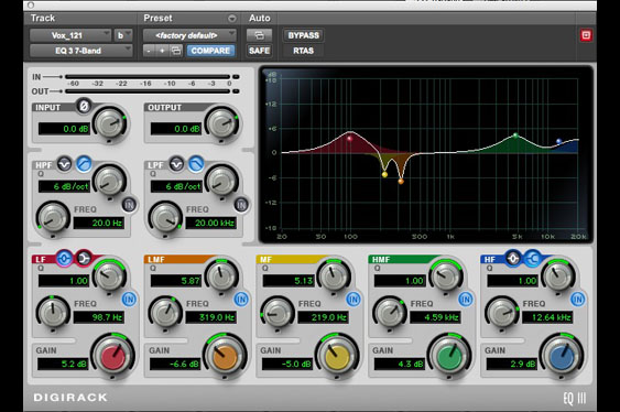 Vocal eq settings for the Royer R121 track.