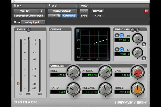 Compression settings used to accentuate attacks and releases of vocals used on Royer R121 track.