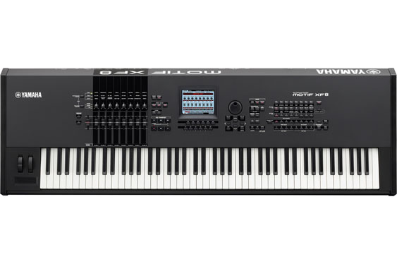 The Yamaha MotifXF8 keyboard workstation. Note the abundance of longer sliders, pots, and the small ribbon control (or strip).