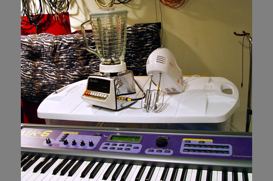 A blender and mixer have been retrofitted as MIDI controllers for the author's MIDI kitchen collection.