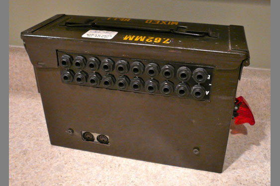 Here, the MIDITron has been incorporated into an ammo can body.