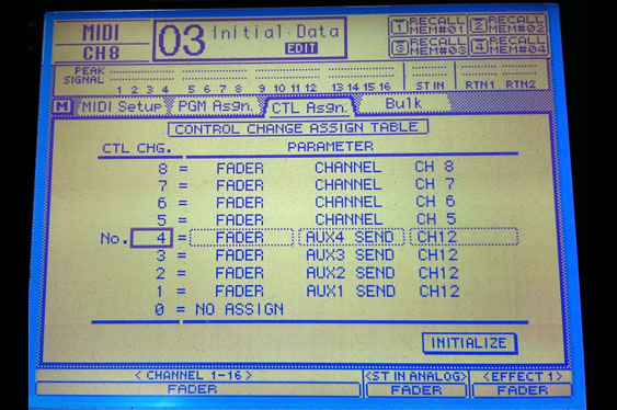 A Yamaha 03D menu for mapping MIDI controllers to mixer functions.
