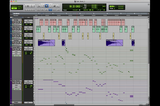 The ProTools edit window with audio tracks as well as piano roll style MIDI tracks.
