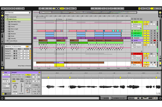 The Arrangement screen in Ableton Live contains audio editing and MIDI sequencing.