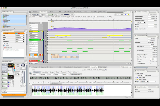 A consolidated window in Digital Performer with sequencer, channel controls and audio editor.