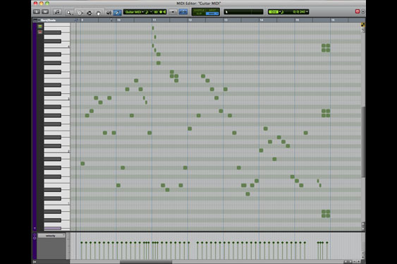 A close up of a MIDI track in ProTools. Note the control strip below for velocity editing.
