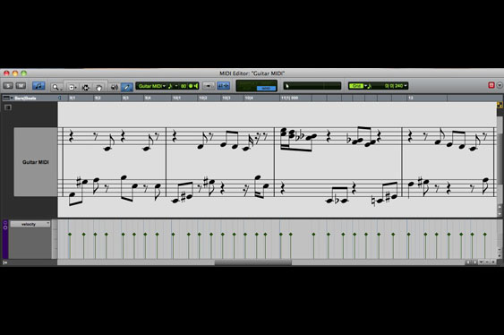 The ProTools score editor for the same MIDI data as TCRM24_pic2.