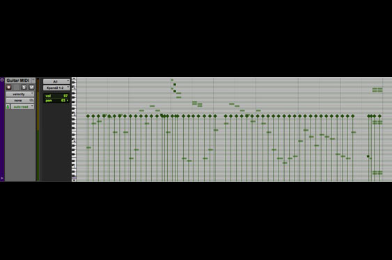 In ProTools the velocities can also be displayed superimposed over the notes.