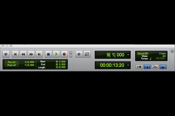 The transport window in ProTools. Note the display in bars and beats as well as the count-off for the MIDI click track.