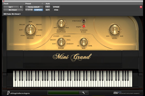 The Mini Grand virtual Piano by Advanced Instrument Research in ProTools 9 native.