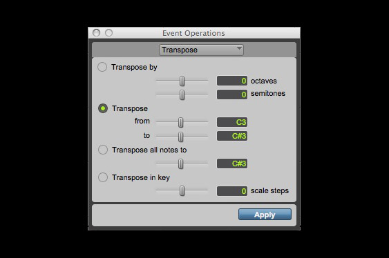 The transpose window in ProTools. Here, it is set to transpose all selected *c3* notes to c#3.
