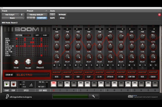 The Boom virtual electronic drum kit by Advanced Instrument Research in ProTools 9 native.