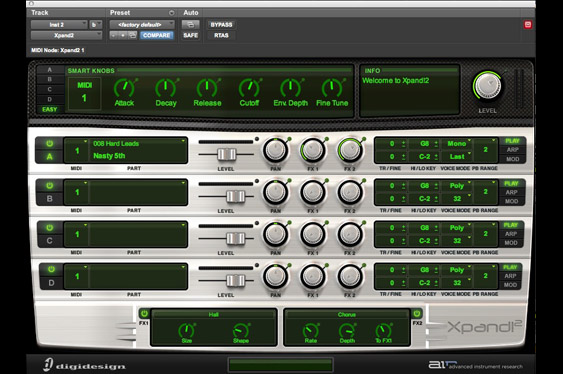 The XPand! virtual synthesizer by Advanced Instrument Research in ProTools 9 native.