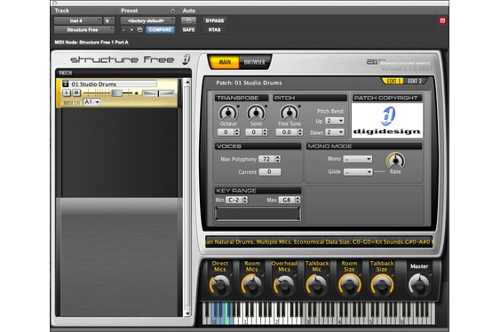 The Structure Free virtual instrument by Advanced Instrument Research in ProTools 9 native.