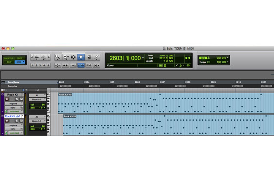 A MIDI drum track is doubled and one version is offset by a dotted eighth. The drum sounds are realized by the *Boom* drum kit in ProTools (listen to TCRM25_37.wav)