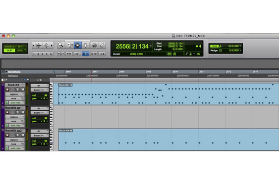 The doubled snare drum part is set to a second iteration of the kit. (listen to TCRM25_30.wav)