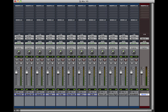The Mix window in ProTools.