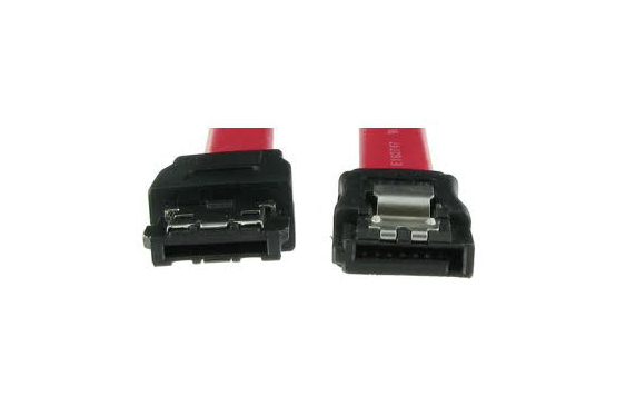 Here eSATA (L) and SATA (R) connectors are compared. Note the *L* shape of the SATA and the *I* shape of the eSATA.