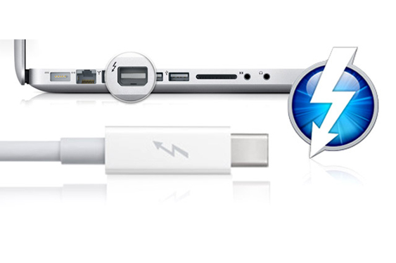 Thunderbolt interface on Mac Laptop and cable.