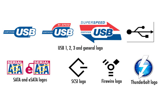 Logos and other identifiers for various interface protocols. (logos and designs which are trademarked and copywritten remain property of holders. All rights reserved.)