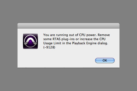 ProTools warning that too many plug-ins are overtaxing the CPU.