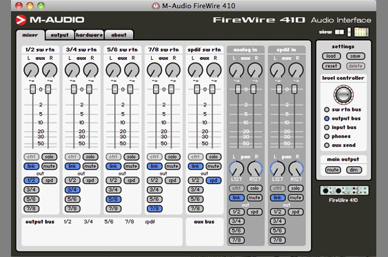 The Control Panel for an M-Audio Firewire 410.