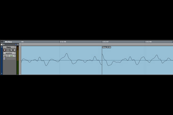 A harmonica lick is edited, but without regard to zero crossings. Notice the leap in amplitude at the edit point: this will cause a *click* in the audio.