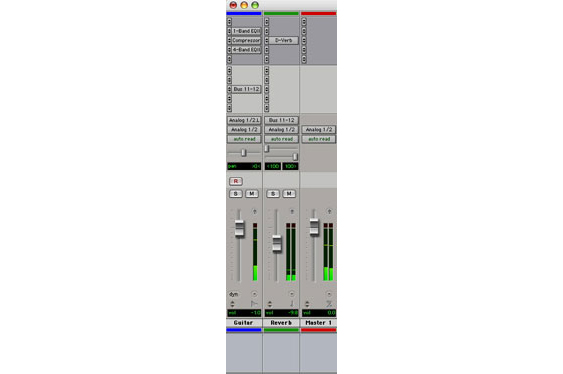 ProTools channel strip, aux return, and master fader.