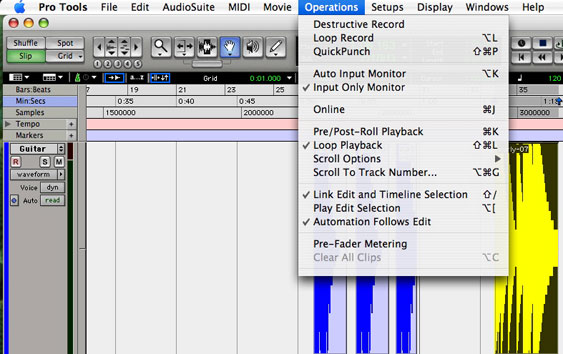 "ProTools ""operations"" menu. Note items for ""input monitoring"" and ""pre-fader metering."""