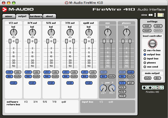 The following are screen shots of the control panel for the M-Audio Firewire 410. It is especially handy for creating non-latent record monitoring.