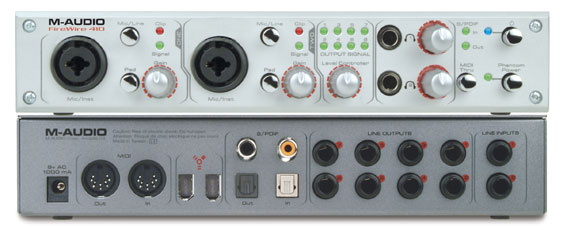 "The M-Audio Firewire 410 itself. Note the pad, gain, level indicators (LEDs), and ""Inst"" inputs."
